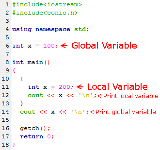 Global and Local Variable Example